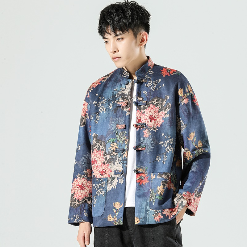 Chinese Style Tang Suit Floral Print Hanfu Blouse Suede Jacket Traditional Chinese Clothing For Men New Year Clothes KK3374