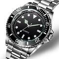 304 Edelstahl Band Business Uhr Für Männer Luxus Herren Uhren Wasserdicht Dreh Lünette 40mm Schwarz Zifferblatt