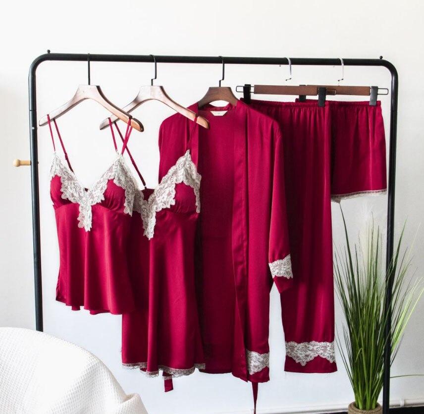 2019 European Ladies   Pajamas     Sets   Satin Sleepwear 5 Pieces Pyjamas Sexy Lace Sleep Lounge Sleeveless Pijama Silk Nightwear