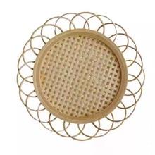 Кружевная Изолированная подставка из бамбука ручной работы, кружевной подставка для чашки, блюдце, поднос для закусок, ротанговый коврик дл...