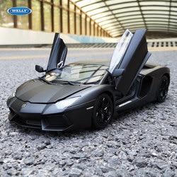 Welly 1:18 Lamborghini LP700-4 negro modelo de coche de aleación de coche decoración de regalo de colección juguete de fundición modelo de juguete de niño