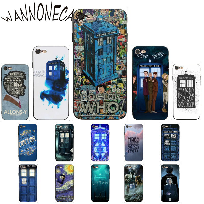 Doctor who tardis illustrations blue Customer High Quality Phone Case For iPhone8 7 6 6S Plus X XSMAX 5 5S SE XR 11 11pro promax