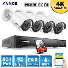 ANNKE sistema de seguridad de 8 canales, 8MP, Ultra HD, PoE, 4K, H.265, NVR, 4x8MP, HD, IP67, POE, cámaras tipo bala