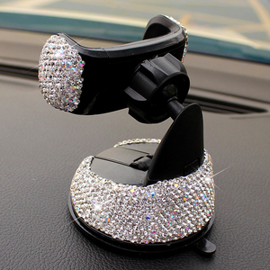 Image 2 - Crystal Rhinestones 360 Degree Car Phone Holder for Car Dashboard Auto Windows and Air Vent Universal Car Mobile Phone Holder