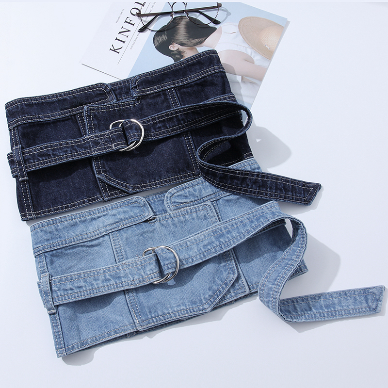 2020 All-match Denim Corset Belt Trendy High Fashion Belts For Women Solid Belt New Design Stylish Waistband Female Tide ZL033