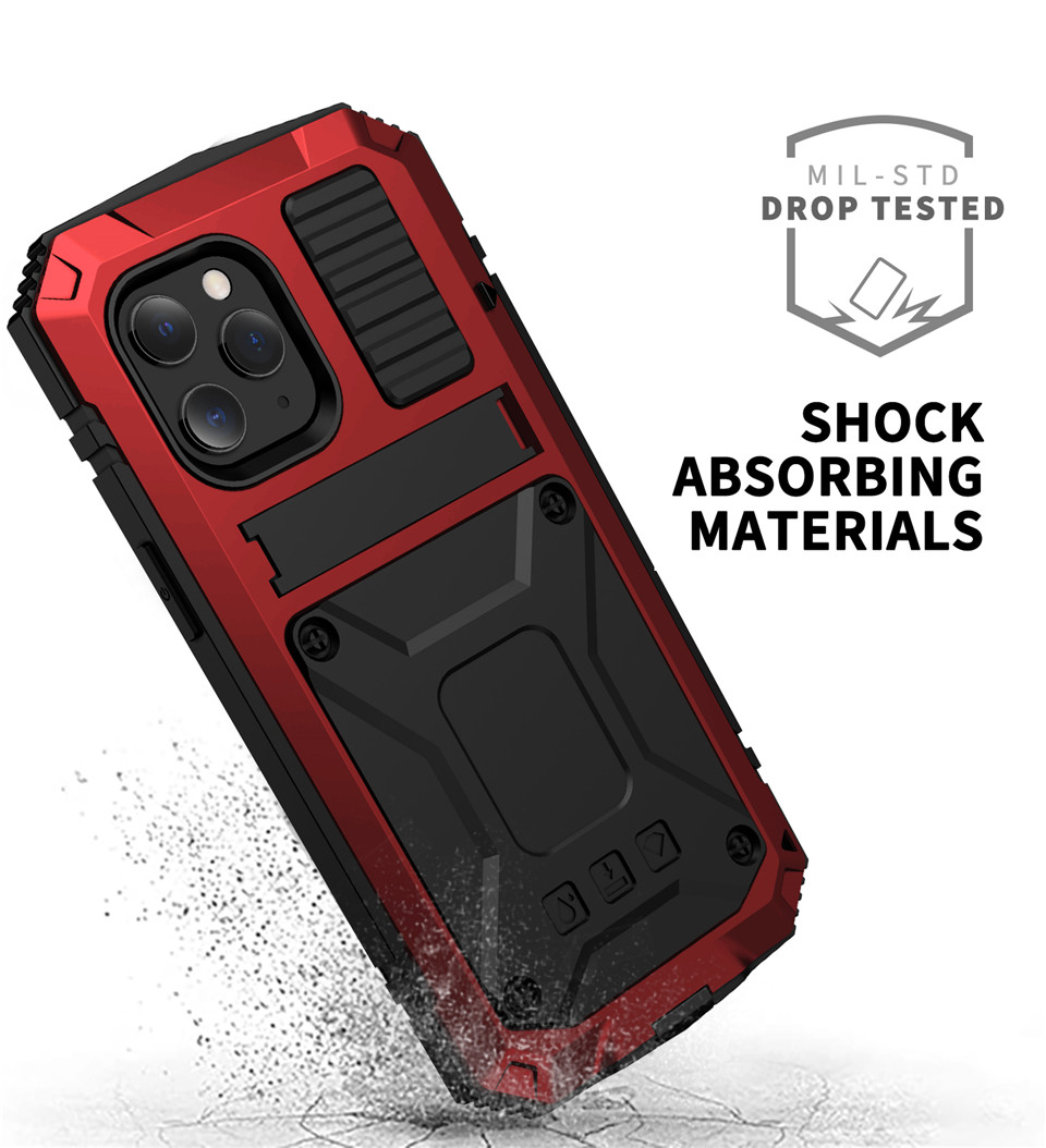 The Armour Dustproof Shockproof Tempered glass Metal Cover For iPhone