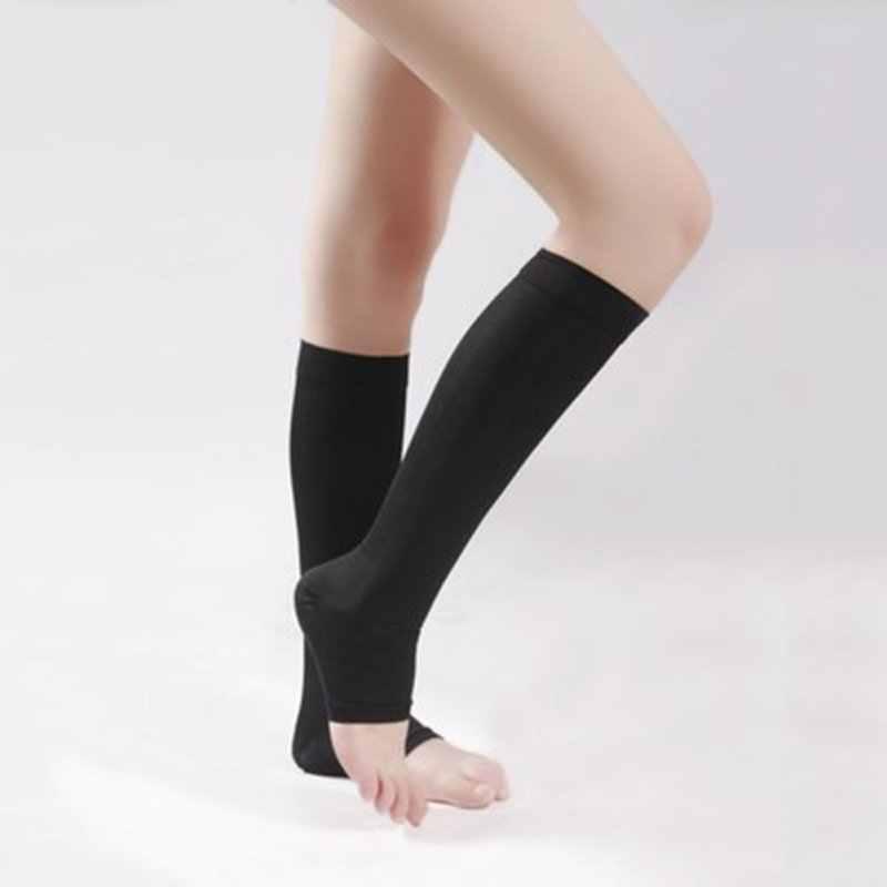 X 2020 유니섹스 무릎 높은 압축 오픈 발가락 팽창 방지 스타킹