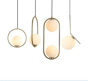 Creative Simple gold Chandelier Small Bedroom Pendent Lamp Restaurant Living Room Pendent Lamp Lights Glass