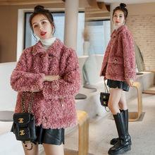 Jacket Overcoat Sheep Shearling Genuine-Fur Winter Women Ladies Warm Autumn Wool B587