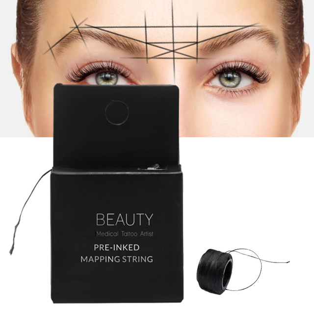 2pcs Pre-Inked MAPPING STRING Microblading Eyebrow Marker thread Tattoo Brows Point 10m Pre Inked tattoo PMU string for mapping