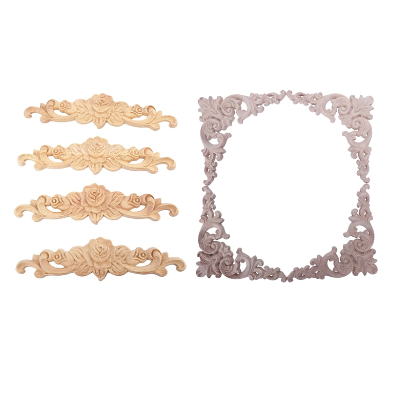 8Pcs Rubber Wood Carved Long Onlay Applique Unpainted Rose Flower & Corner Onlay Applique Door Home Decor European Style 4pcs 20