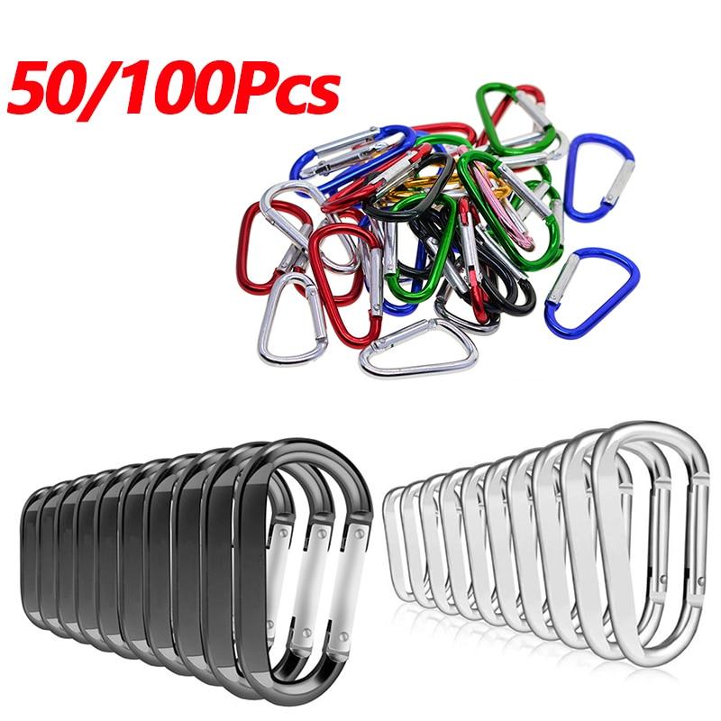 50//100Pcs D-Shape Aluminum Carabiner Spring Belt Clip Key Chain Hardware Tools