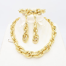 High Quality Ltaly 750 Jewelry Set For women Geometric Round Design Necklace Dangle Chocker EarringsEarrings Party Jewelry