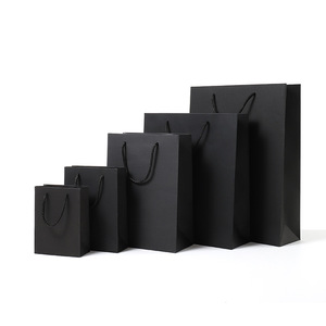 Vertical Version Black High Quality Simple Paper Gift Bag Kraft Paper Candy Box with Handle Wedding Birthday Party Gift Package