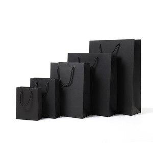Черная вертикальная версия, Высококачественный простой бумажный подарочный пакет, крафт-бумага, коробка конфет с ручкой, подарочная упаков...