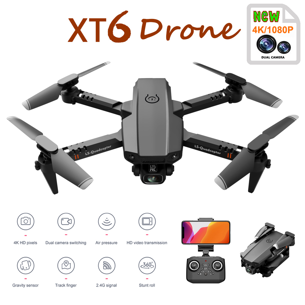 2020 New Mini Rc Drone XT6 4K1080P HD Dual Camera WiFi FPV Air Pressure Altitude Hold Foldable Quadcopter Gps Drone for boy toys