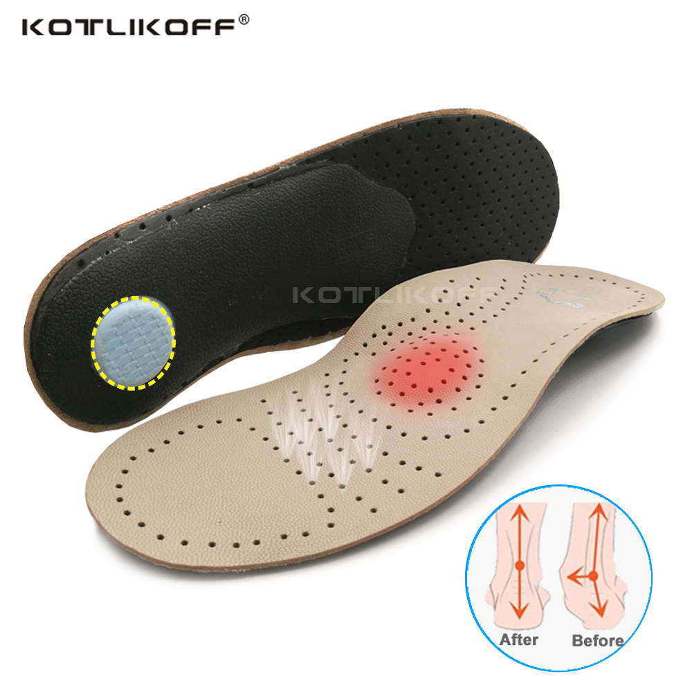 Genuine Leather Orthotics Insole For Flat Foot Arch Support Varus Plantar Fasciiti Orthopedic Insoles For Men Wome Shoes Pad