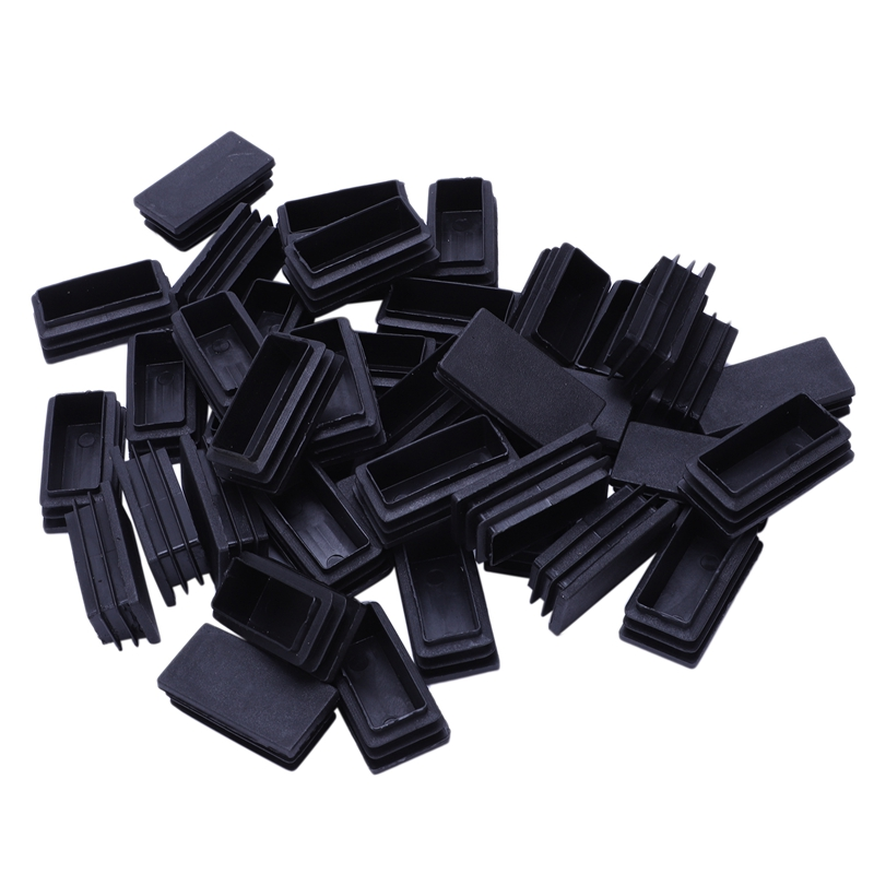 Plastic Blanking End Cap Tubing Tube Inserts 25mmx50mm 40 Pcs Black