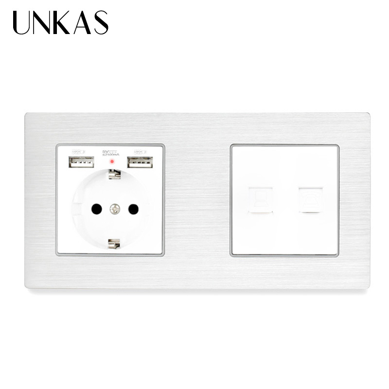 UNKAS Aluminum Panel EU Socket with 2 USB+RJ11 Telephone Jack With RJ45 Data Computer Internet Connector Wall Socket