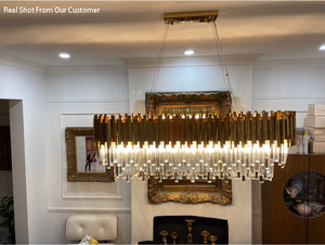 Image 3 - Phube Verlichting Moderne Kristallen Kroonluchter Luxe Ovale Gouden Opknoping Verlichtingsarmaturen Eetkamer Suspension Led Lustres