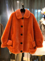2019 Wool Teddy Coat Women Winter Special Color Orange Red Puff Sleeve with Pearls Ornament