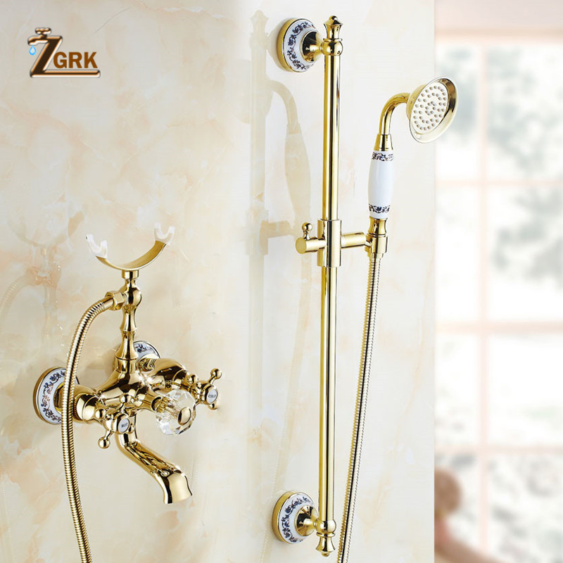 Discount ZGRK Bathtub Faucets Luxury Crystal Gold Bathroom Faucet Mixer Tap Wall Mounted Hand Held Telephone Type Shower Faucet Sets