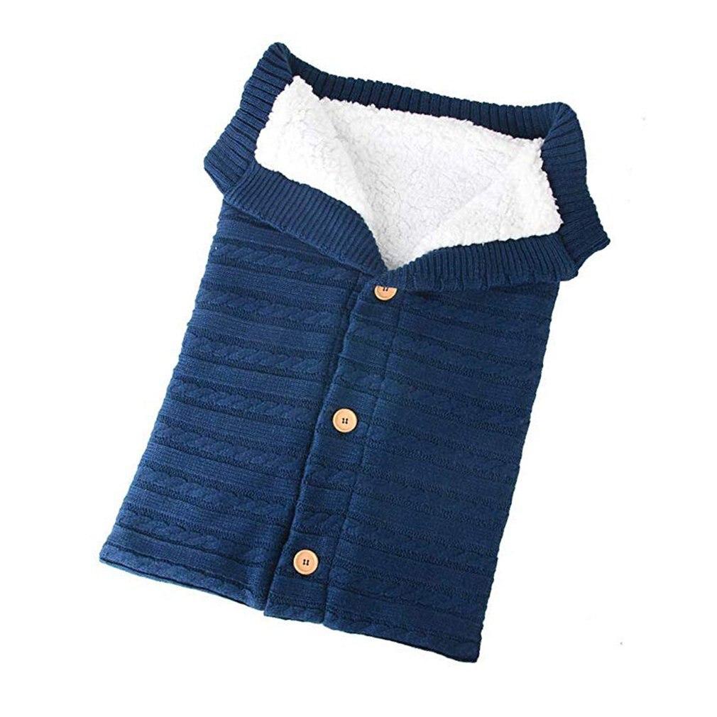 Wool Knit Plus Velvet Thick Warm Button Sleeping Bag Baby Outdoor Baby Stroller Sleeping Bag Blanket