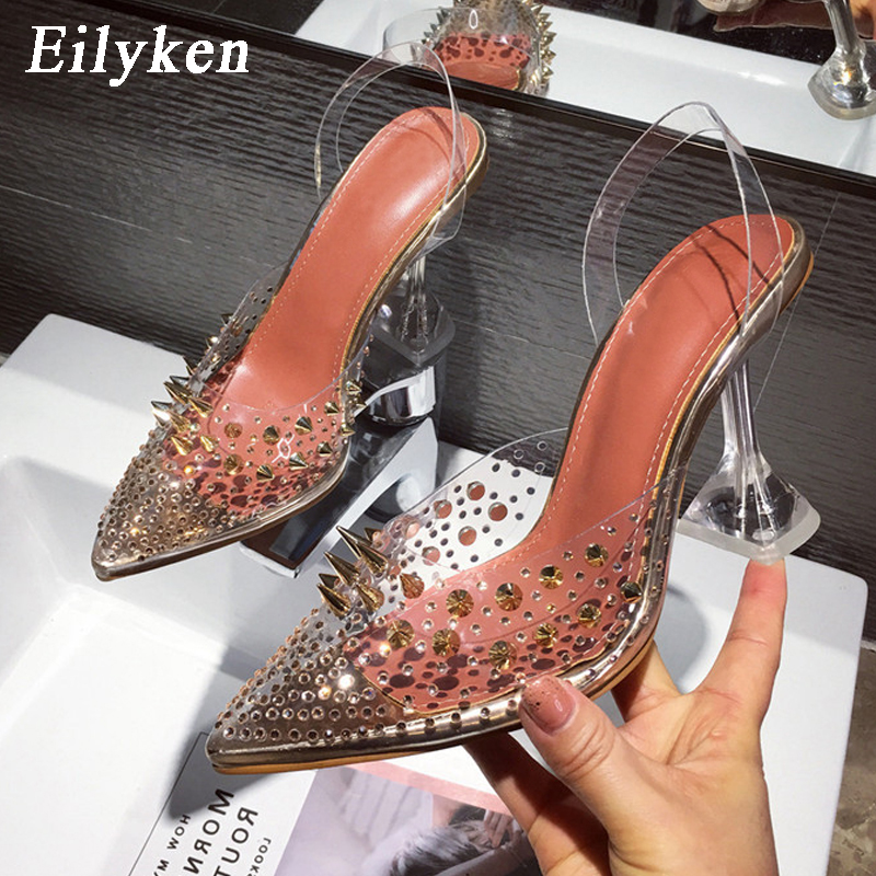 EilyKen New Rivet Diamond Transparent Pointed Toe Pumps Strange Heels Female Cover Heel Party Wedding Ladies Plus Size 35-41