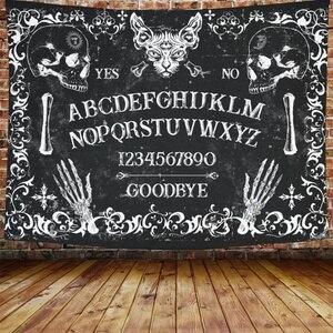 Таро карты черная кошка гобелен настенный ручной работы в стиле хиппи Луна волк Love You To украшение череп гобелен настенный Одеяло