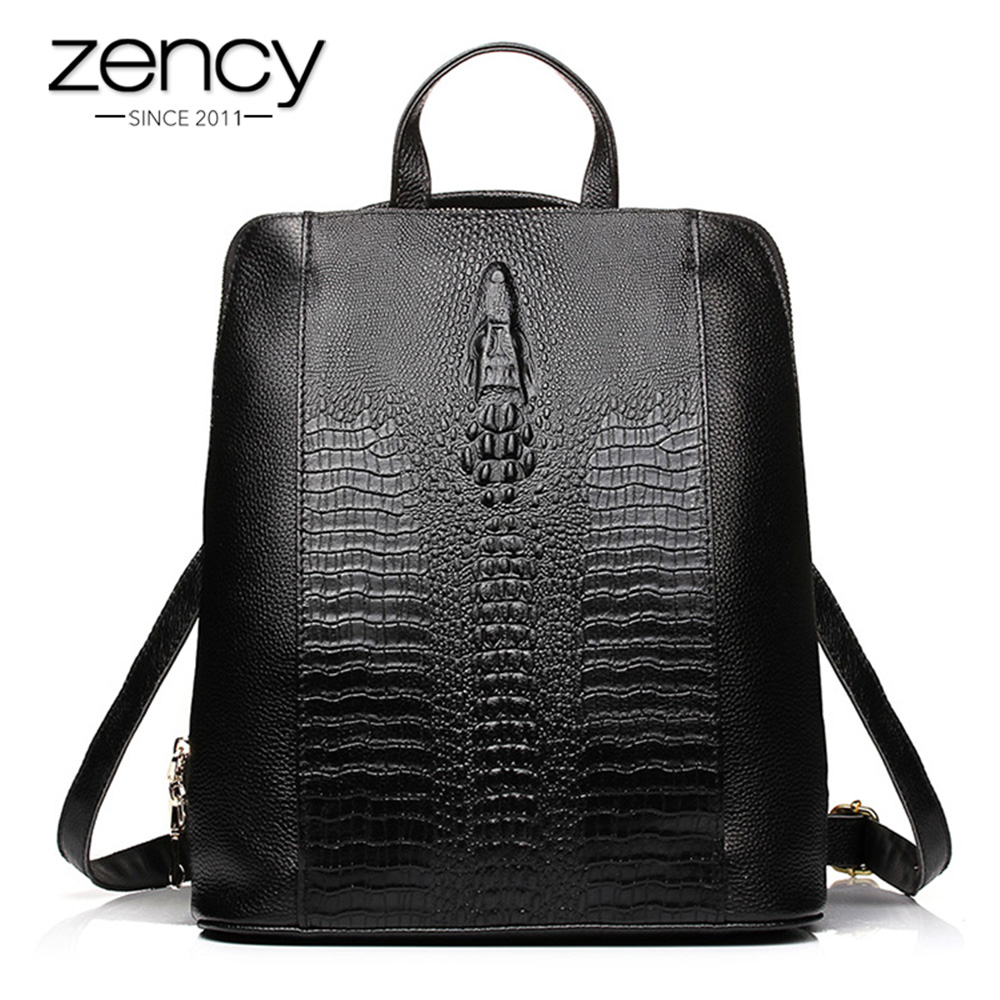 Zency 100% Genuine Leather Knapsack Ladies Crocodile Pattern Women Backpack Girl Notebook Schoolbags Travel Bags High Quality