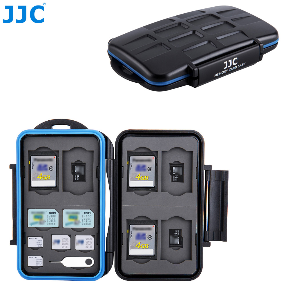 JJC Water-Resistant Camera Memory Card Case 6 <font><b>SD</b></font>, 6 TF, 2 SIM, 2 <font><b>Micro</b></font> SIM, 2 Nano SIM Cards Compact Tough <font><b>Storage</b></font> Box image