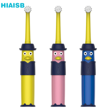 лучшая цена HIAISB Six-sided Stereo Rotating Children's Electric Toothbrush For Babies and Kids Specially Designed Electric Toothbrush