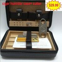Cohiba Cigar Humidor Case Portable Cedar Wood Leather Travel Humidor Humidifier Set Gift Box with cigar cutter gift