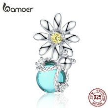 bamoer Silver 925 Charm for Original Women Silver Snake Bracelet Daisy and Firefly Design Jewelry Bead Accessoreis SCC1369 цена