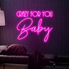 Crazy for you baby Neon Sign Custom Neon Light Sign Led Custom Pink Light Neon Home Room Wall Decoration Ins shop decor