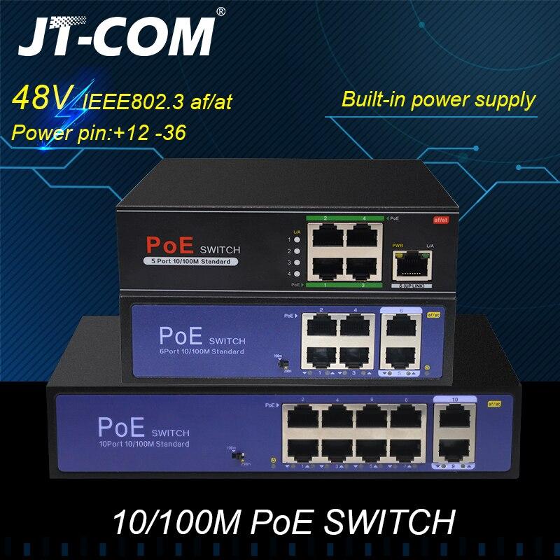 48 v rede poe switch ethernet 10/100 mbps 5/8/10 portas ieee 802.3af/at adequado para câmera ip/sem fio ap/cctv câmera 250m