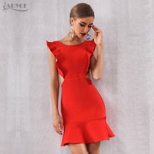 Adyce 2020 뉴 여름 도착한 여성 빨간 붕대 드레스 섹시한 민소매 Strapless Ruffles 미니 클럽 Vestido Celebrity Party Dress