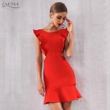 Adyce vestido bandage vermelho feminino, sem mangas babado sensual mini clube vestido de festa celebridade verão 2020