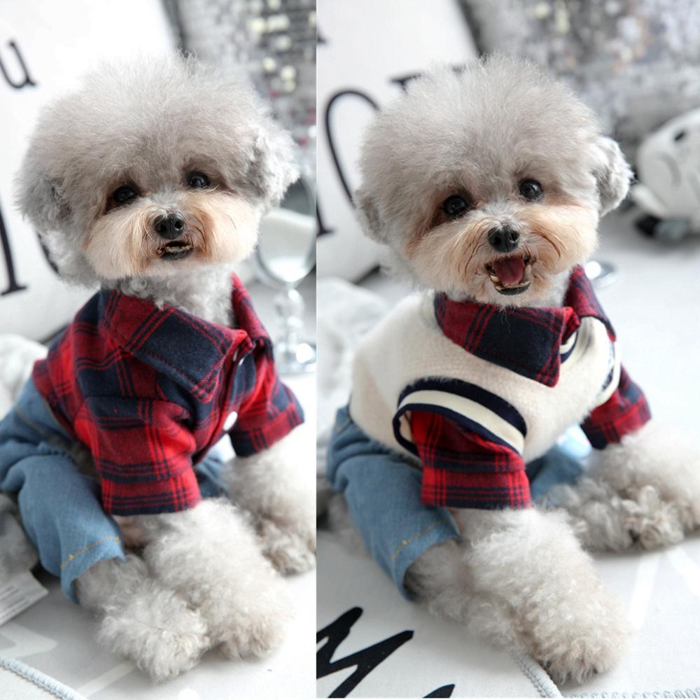 Клетчатая рубашка с джинсовыми штанами, жилет, комбинезон для собаки, Осень зима, Модный комплект одежды для питомцев, для маленьких средних животных, чихуахуа, йоркширский стиль|Комбинезоны и ромперы|   | АлиЭкспресс