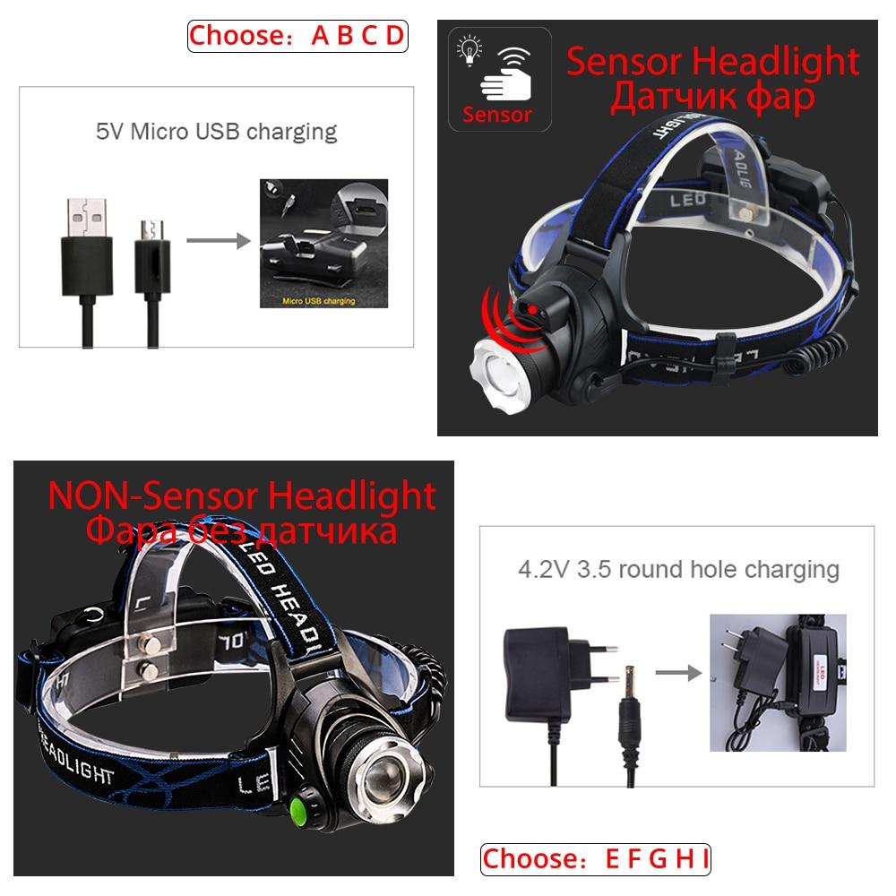 IR Sensor Headlight USB Rechargeable V6/L2/T6 Induction LED Headlamp Fishing Head Light Lamp Lantern By 18650 Battery 2