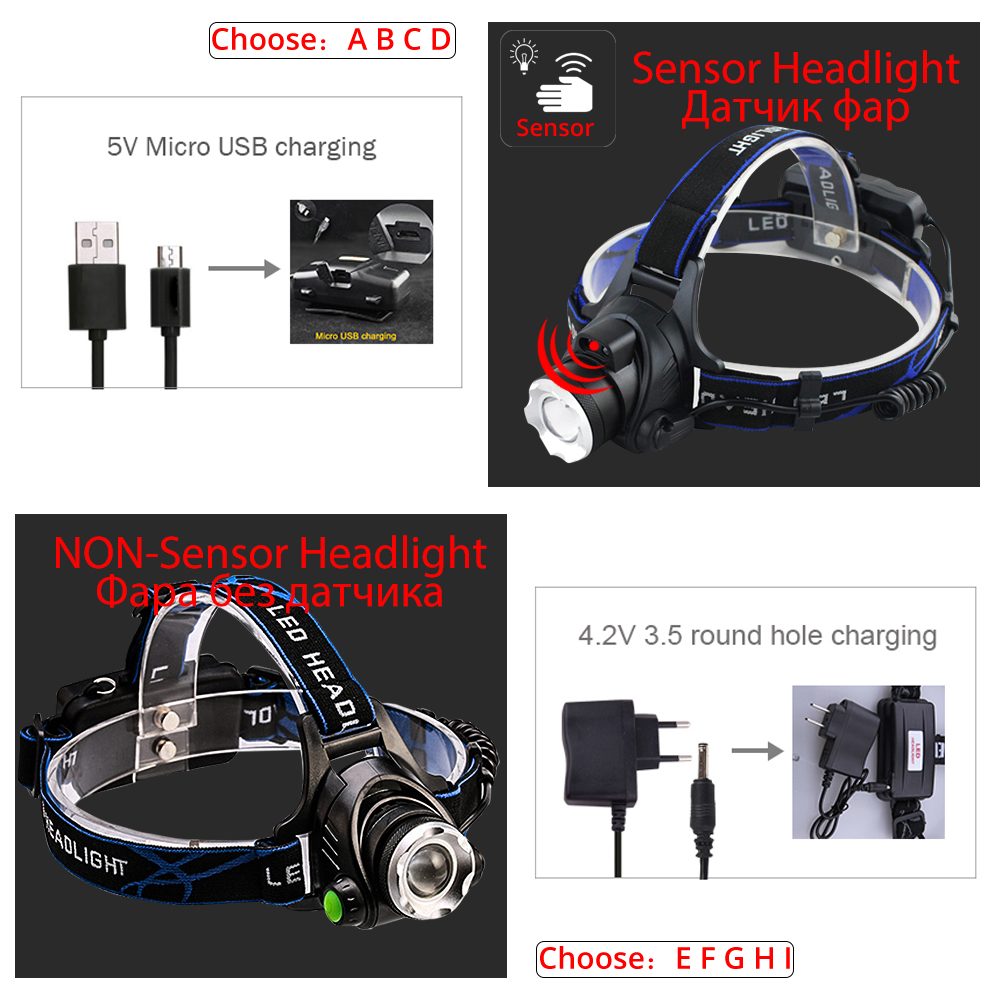 Image 3 - IR Sensor Headlight USB Rechargeable V6/L2/T6 Induction LED Headlamp Fishing Head Light Lamp Lantern By 18650 Battery-in Headlamps from Lights & Lighting
