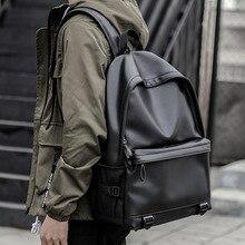 2019 Men Leather Backpacks Black School Bags for Teenagers Boys College