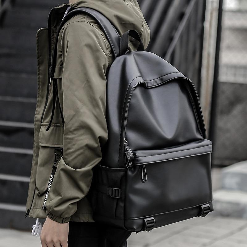 New Fashion Men Leather Backpacks Black School Bags For Teenagers Boys College Book Bag Laptop Backpacks Mochila Masculina