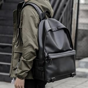 Image 1 - New Fashion Men Leather Backpacks Black School Bags for Teenagers Boys College Book Bag Laptop Backpacks mochila masculina