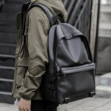 New Fashion Men Leather Backpacks Black School Bags for Teenagers Boys