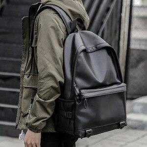 Image 1 - Sac à dos en cuir homme, sacs décole noirs pour adolescents, sacoche pour livres collège sacs à dos dordinateur portable