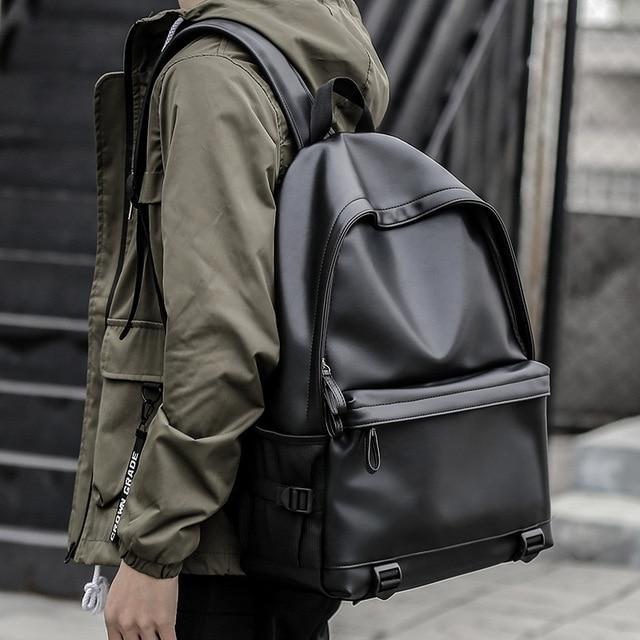 Sac à dos en cuir homme, sacs décole noirs pour adolescents, sacoche pour livres collège sacs à dos dordinateur portable