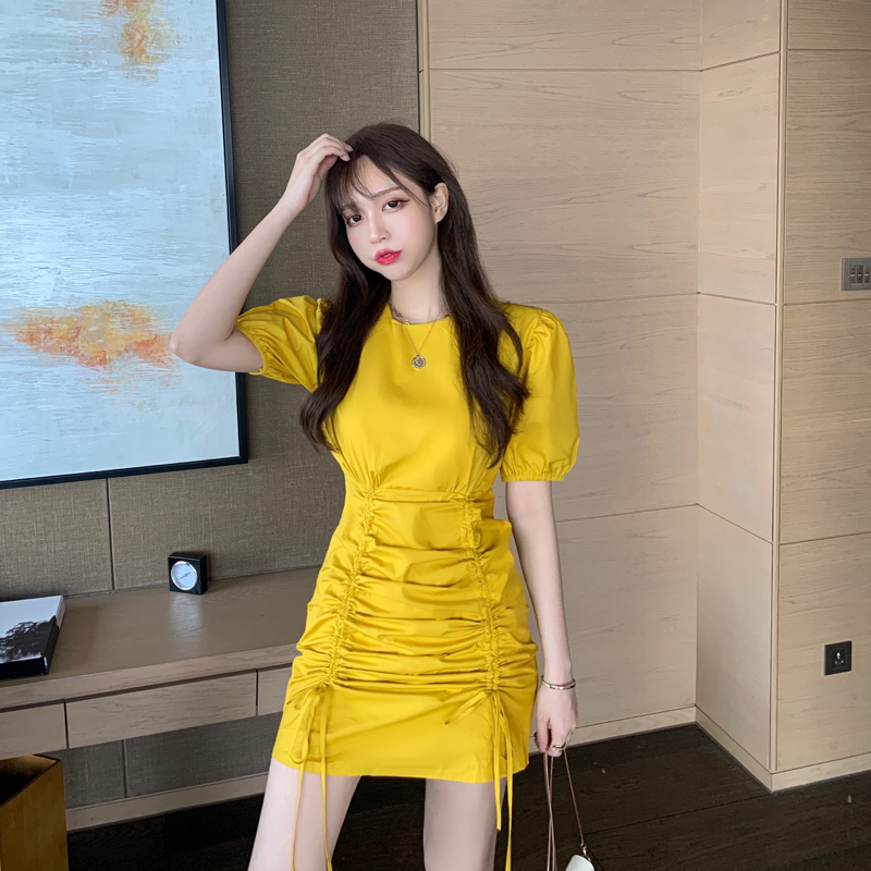 ZCWXM 2020 Summer Preppy Style A-Line Women Dress Korean Drawstring Ruched Elegant Short Sleeve Vestidos Femme Dresses New