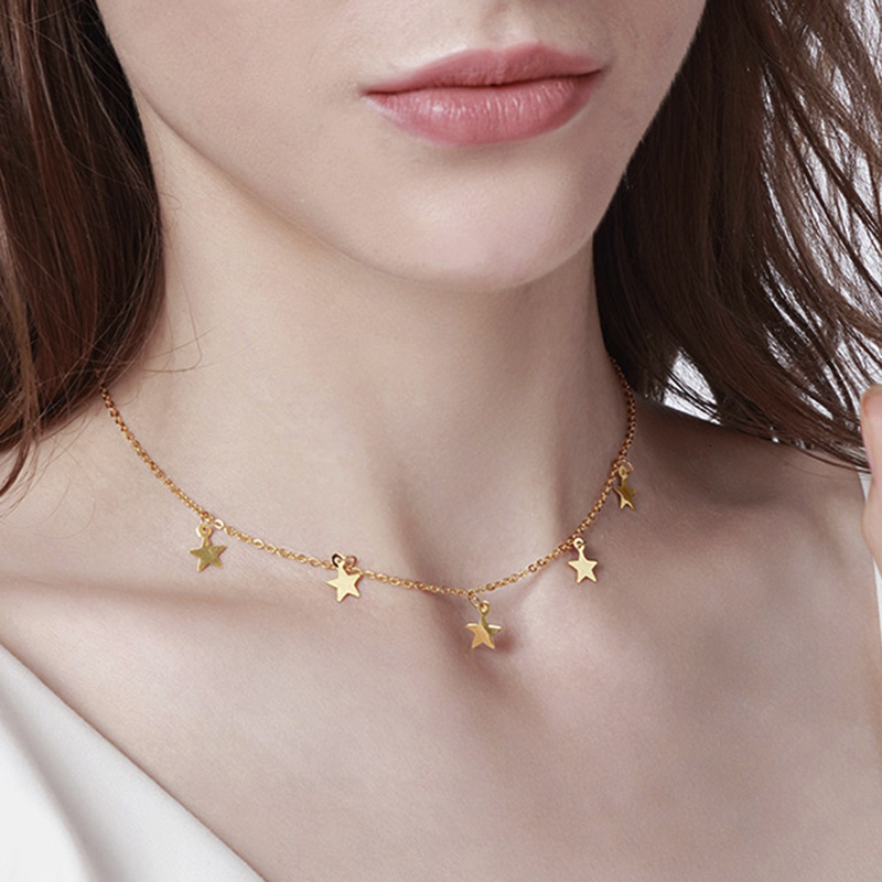Vnox Temperament Stars Choker Gold Tone Stainless Steel Necklaces For Women Candid Jewelry