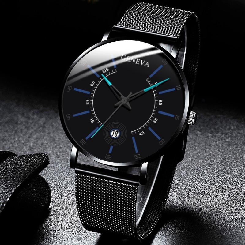 Fashion Mens Business Watches Luxury Stainless Steel Ultra Thin Mesh Belt Quartz Men Wrist Watch Casual Classic Black Male Watch 4